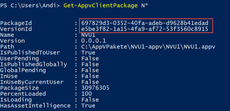 Ermittlung PackageID VersionsID App-V Powershell